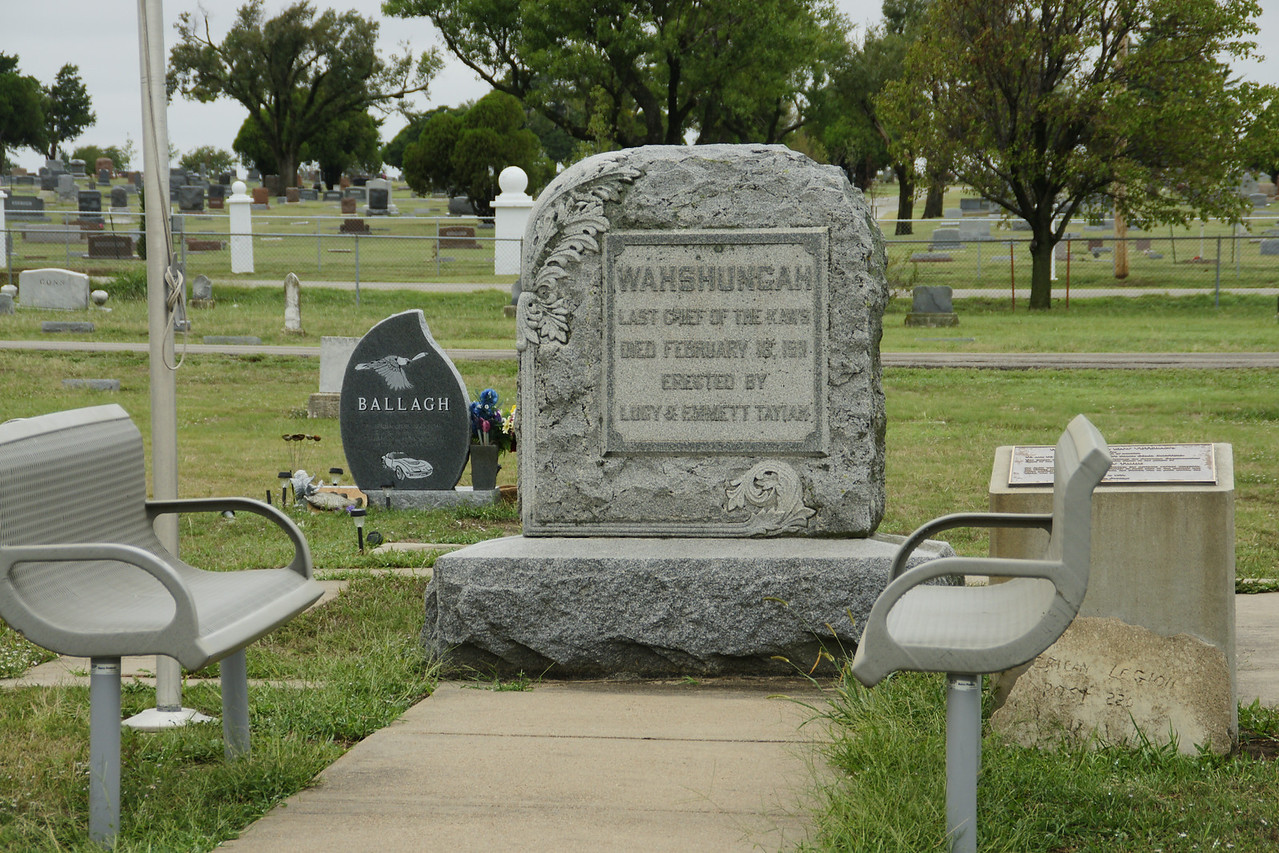 Monument to Chief Wahshungah, the last of the Kaw chiefs in Wahshungah Cemetery near Newkirk