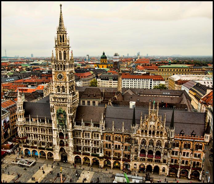 The Marienplatz and Neues Rathaus (New City Hall)