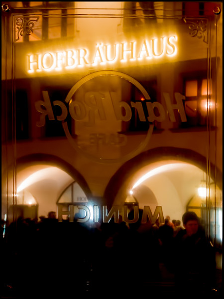 FLIPPED - The Hofbrauhaus as seen in the reflection of the Hard Rock Cafe Sign