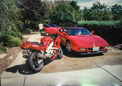 Kawasaki Ninja, Ferrari 348 TS, and Corvette