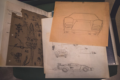 My old drawings of Lamborghini Countach, and Space Shuttle