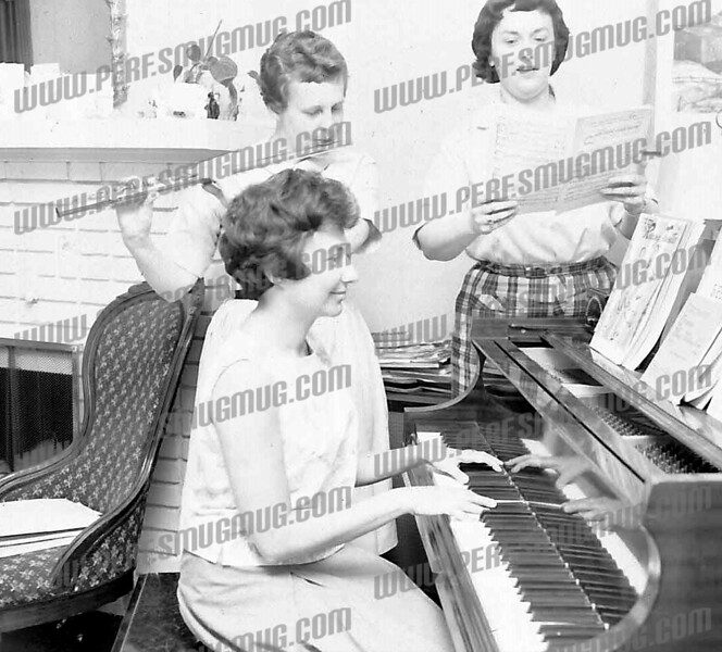 Playing piano - Shirley Stone, on right - Peg Lazarou