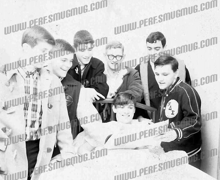 Jerry K in Hospital- L to R Dave Pozniack, Phil Nabozny, John Favorito, Jerry Fedash, Tony Torani, ?, Jerry Kolodj(sic) in bed