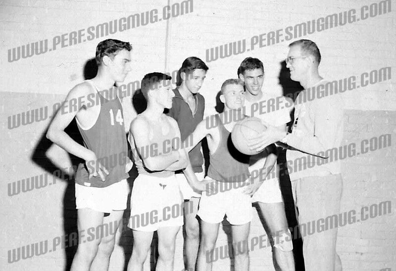 "SMI Gaels, 1962-63. Jack Kolodziej, (Mike Eckleman?), ?, Danny Krawczeski, Bill Bresonis, Coach Francis ""Dutch"" Howlan,Third from Lt is Frank Turo"