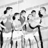 """SMI Gaels, 1962-63. Jack Kolodziej, (Mike Eckleman?), ?, Danny Krawczeski, Bill Bresonis, Coach Francis """"Dutch"""" Howlan,Third from Lt is Frank Turo"""