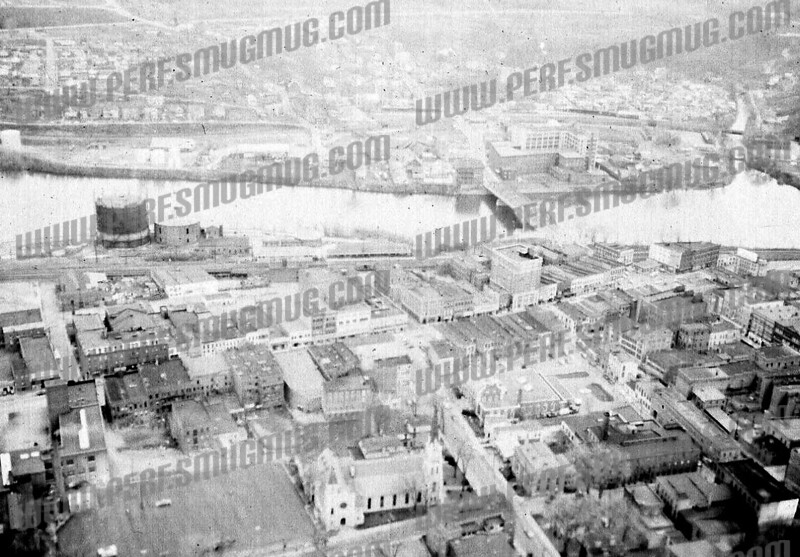 Reverse of previous shot, from North side looking south, Chalmers in right center. 1950's.