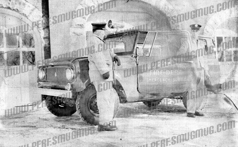 ". jeff cole wrote about this photo on Oct 16th;<br /> <br /> The first EMS vehicle, before it was called ""EMS"". International, called ""The Scout"", ran as EV-10, handling oxygen calls, and providing 2 extra men on box alarms and full assignment responses to the ""hill companies"", usually running with Engines 3, 6, and Truck 4. Engine 3 ran oxygen calls on the hill."