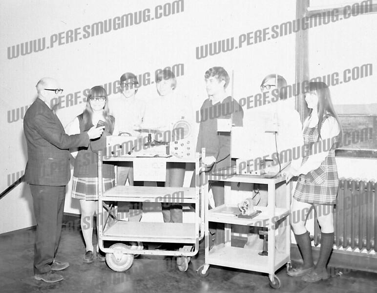 Seated: Tom Tracz, Fr. Gustas, Gary Wojcik, Andy Fabozzi<br /> Standing: George Scism, Bob Swider, Joe Spalletta (Spencer), Ken Trzaskos, Joe Olbrych<br /> Probably the Key Club from Scully 1969/70<br /> <br /> <br /> AHS 1970 - Physics teacher Jack Saroff, Mary Slezak, Arnold Olender, Don Green, Jim Love, Dave Steenburgh & Sally Stewart.