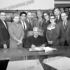 Bob Going wrote about this photo on Oct 29th<br /> <br /> Seated Supreme Court justice Felix Aulisi. Back row far left Vito dandreano, far right Atty. Raymond S. Zierak.<br /> <br /> According to Vito, this was the Board of Directors of a Day Care that he helped found about 1968. Ray Zierak was the Attorney and Rev. Haven at St Ann's Episcopal was a sponsor. Day care was located in the basement of the New East Main Street School.
