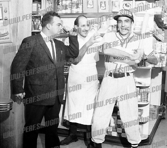 """Bob Going wrote about this photo on Oct 29th;<br /> <br /> This one is hanging in the South Side Coffee Shop. 1964 World Series dispute (Yankees v. Cardinals). l-r Anthony """"Judge"""" Carusone, Tom Ripepi (at Tom's Luncheonette, Market Hill) and purportedly Ed Cotugno the tailor who also had a shop on Market Hill."""