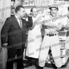"Bob Going wrote about this photo on Oct 29th;<br /> <br /> This one is hanging in the South Side Coffee Shop. 1964 World Series dispute (Yankees v. Cardinals). l-r Anthony ""Judge"" Carusone, Tom Ripepi (at Tom's Luncheonette, Market Hill) and purportedly Ed Cotugno the tailor who also had a shop on Market Hill."