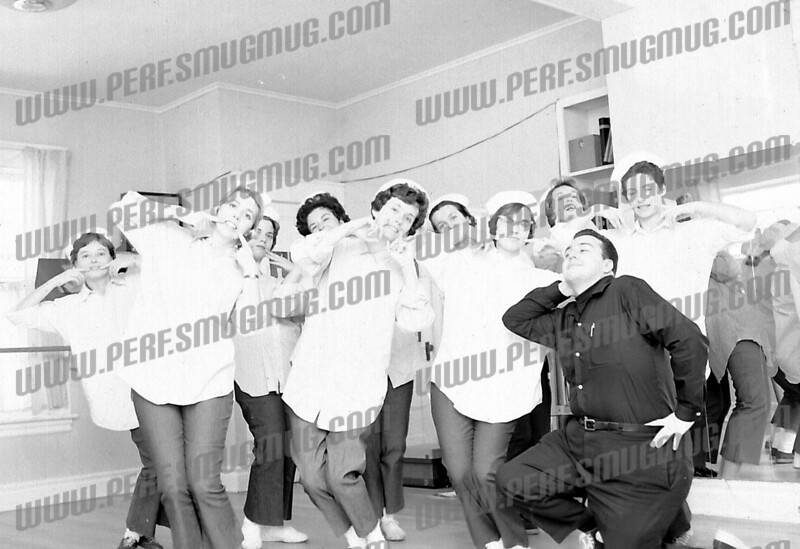 Jerry Hazzard up front, with what appears to be the female chorus from South Pacific, summer 1965.