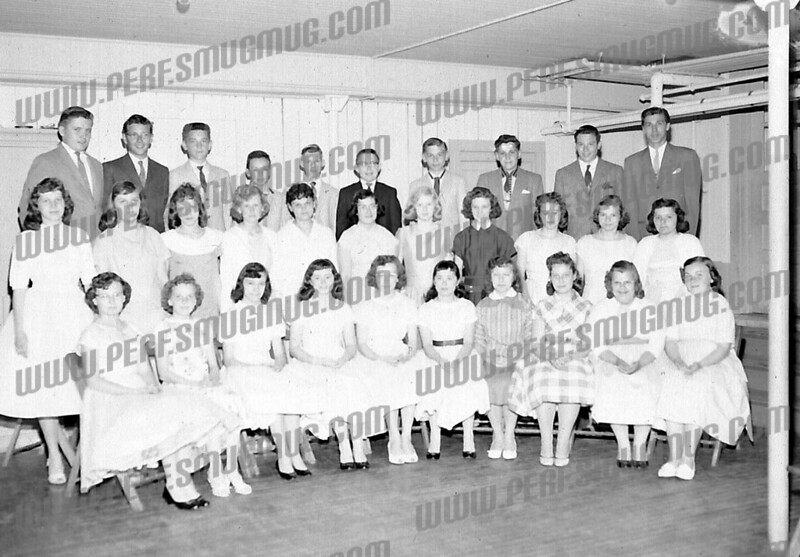 This picture appears to be taken in the church hall of St Stanislaus Church - maybe a 8th grade graduation class?