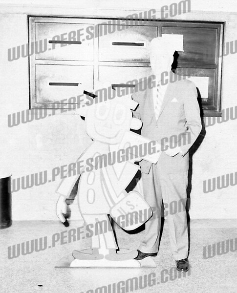 """Amsterdam Postmaster (Tom Tighe?) introduces """"Mr. Zip"""" and the brand new zip code system, c. 1961."""