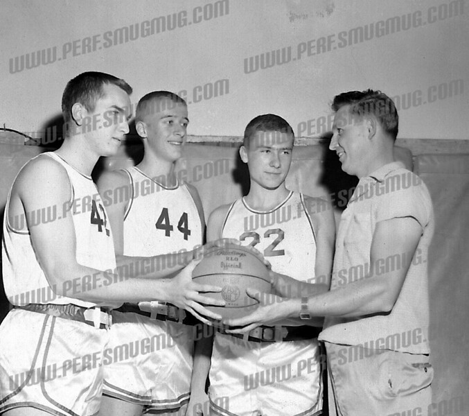 Basketball stars from the early 60's greatest of all time AHS teams.<br /> 2nd from left Phil Schuyler and 3rd Tom Urbelis.<br /> On left is Gary Blongewicz and on right is coach John Varsoke.