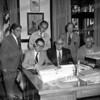 Seated 8th Ward Alderman Joseph M. Purtell, Mayor John P. Gomulka, ?<br /> Standing 2nd Ward Alderman Paul Constantine, 6th Ward Alderman Jim Wickham, Corporation Counsel Joseph Jacobs. c. 1977