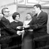 Francis Going (left) accepting contribution for annual Heart Fund drive. C. 1963