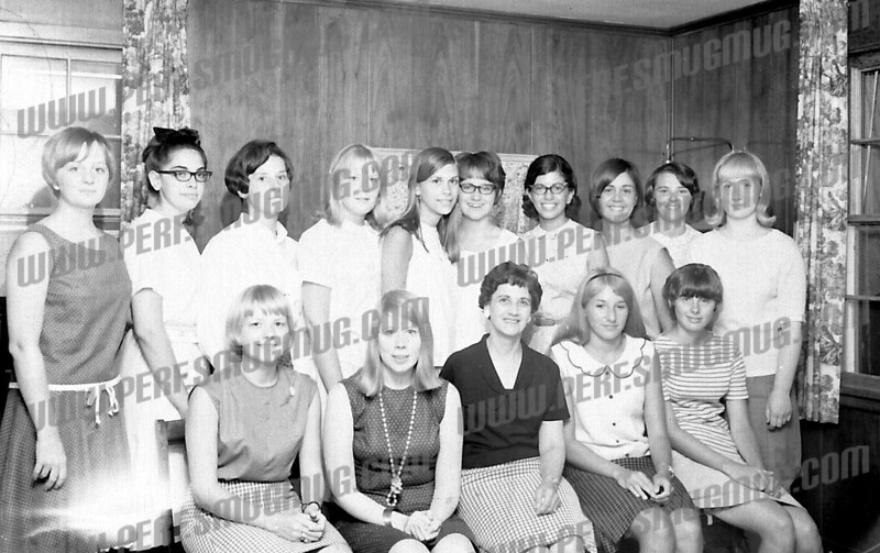 Front left to right: Pat Swartz, Wendy Bullard, Mrs. Barca, ?, Marcy Dunning.<br /> Back Left to right: Pat Minney, ?, ?, Carol Noonan, ?, Judy Oberist???, ?, Benita Martuscello, ?, ?.