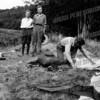 breaking camp Geoge Boerner, Pete and Buster Blood