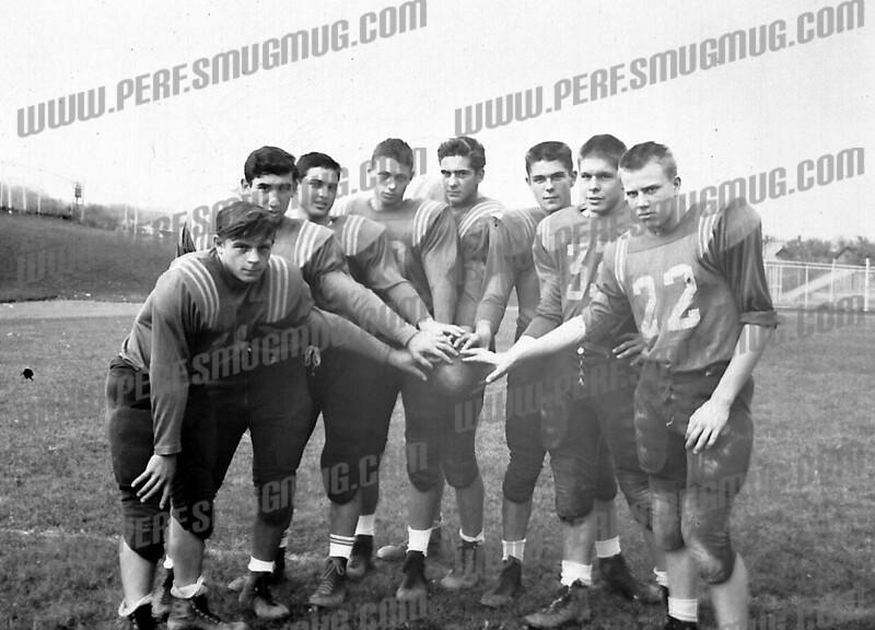 1964 Amsterdam High football team: L-R: Howie Seymour, Gene Brown, Rick Palloni, Frank Derrico, Carl Srokowski, Joe Nabozny, Mike Krochina and Dan Dixon.