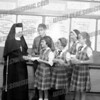 St. Stanislaus students. Two in rear are Bob Wojcik and Michele Bazan. They can both still diagram sentences. c. 1965,In the front row are Agnes Mazur, ??, and Betty-Jean Podolec, I think that Sr. Mary Angeline is the nun.