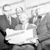 Rabbi Bloom, Mr Olender, Mr Aison?, don't know the man far right and Morris Oender,The man on the far right I believe is Sam Valberg who owned Grand Rapids Furniture Store.