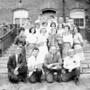 Location is garden steps in back of City Hall. Bert DeRose is second from left front row and that may be Claude Palczak on his right which might make this AHS Faculty-related. Early 60's., also Prof , Ed Cionek 3rd from left,2nd row: Macky Romano, ?, Jean Amy Waterstreet<br /> Third row far right: David Hughes<br /> Top row: 4th from left: Ronald Baum