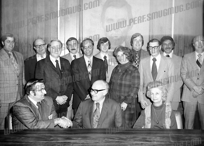 Appears to be a CHamber of Commerce event with Mayor John Gomulka seated center. Back row Pat Aragona, Bill Pope, Paul Guttenberg. c. 1979.
