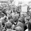 """Nelson Rockefeller at Bishop Scully High, October, 1966. Below and to the right of the """"Y"""" in Scully is future Third Ward Alderman candidate Robert Going., behind Frank Dziduch. Tom Bubniak in foreground. Also identifiable Jimmy Slezak, Leonard Roginski, Dick List, Sister Maria Christina. School was brand new."""