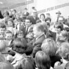 """Nelson Rockefeller at Bishop Scully High, October, 1966. In center of photo Peter Fritz (to left and above Rocky) and center back Francis """"Dutch"""" Howlan."""