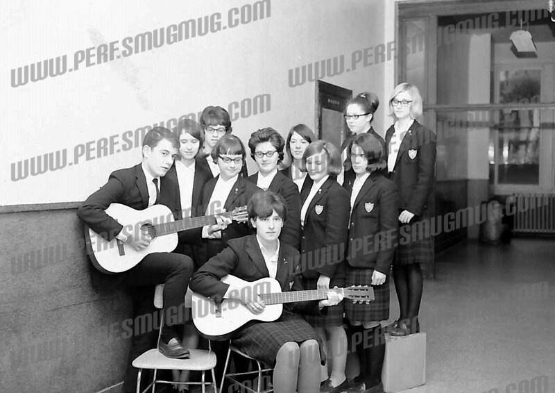 Members of Cast of Hootenanny, SMI 1966. Appear to be mostly members of junior class.<br /> <br /> Guitarist are Jim Morrell and Marlena Sapia.