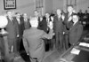 This appears to be the Common Council elected in 1949 and sworn in January 1950. The only one I can identify is 4th ward alderman Steve Rutkowski, fourth from left, who served two terms 14 years apart (elected in '49 and '63) and tried unsuccessfully to come back again another 14 years later in 1977.