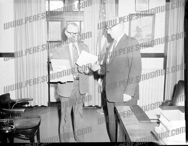 Mayor John P. Gomulka on right, Mayor's office.