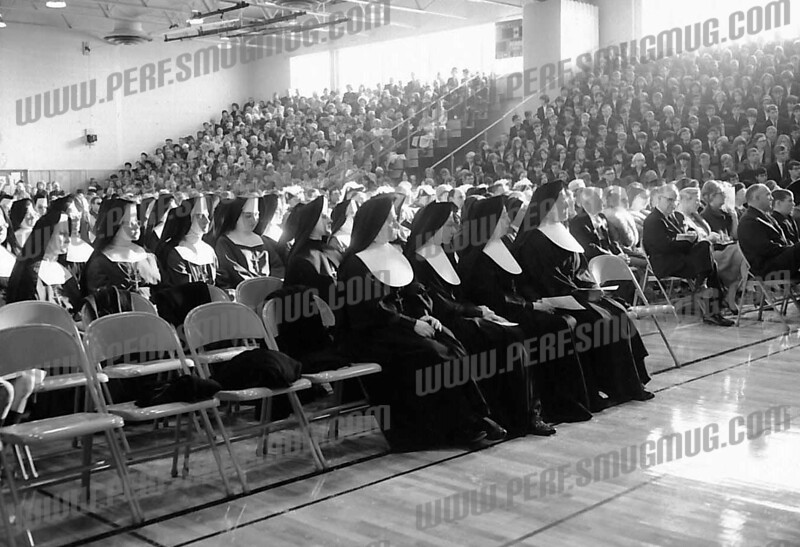 Bishop Scully High School. May be 1966 dedication, as student body is assembled in bleachers.