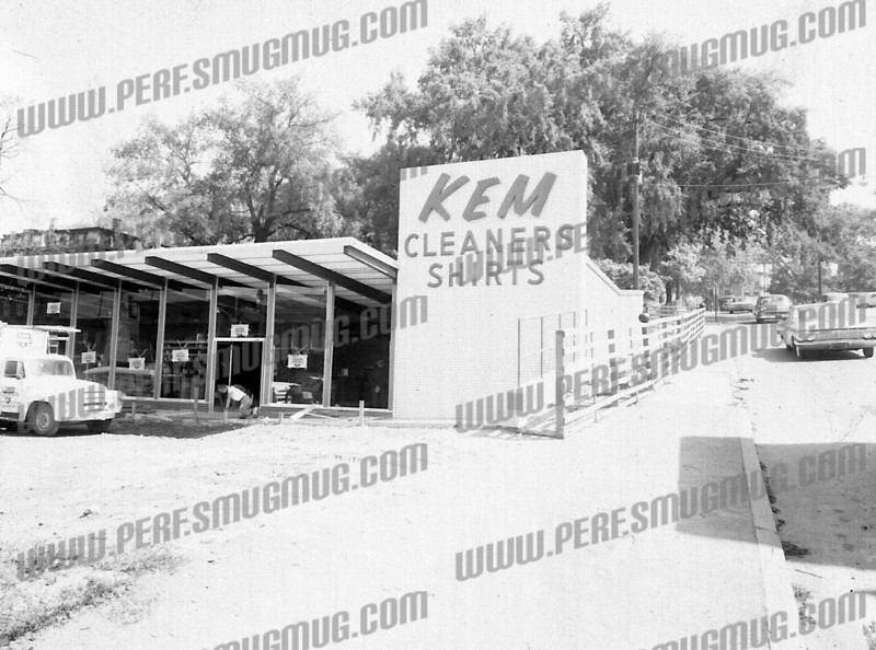 KEM Cleaners, probably grand opening, corner of Guy Park Ave and Market Street, c. 1961.