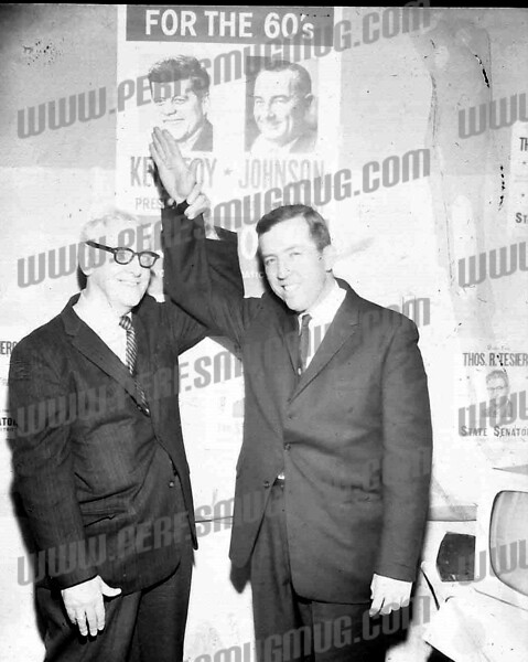 Newly elected Children's Court Judge Robert Sise, right, 1960.