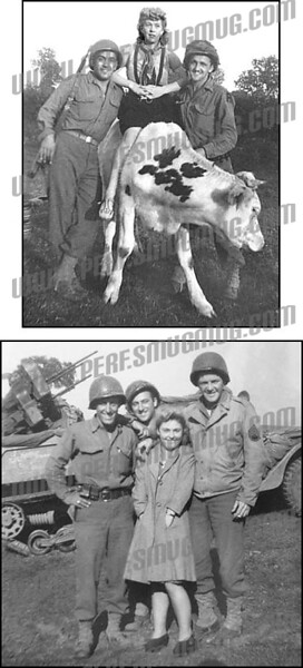In the top photo PFC Marc Palombi is on the left and T/5 G. W. Ostiguy is on the right. In the bottom photo Russ Eick who took most of these photos is on the left, PFC Marc Palombi is in the back, and S Sgt. John Kreiger is on the right. Their halftrack Hells Bells is in the background
