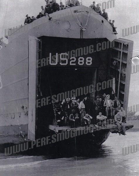 LST 288 on June 25, 1944 at Gold Beach Bernilaes, France.