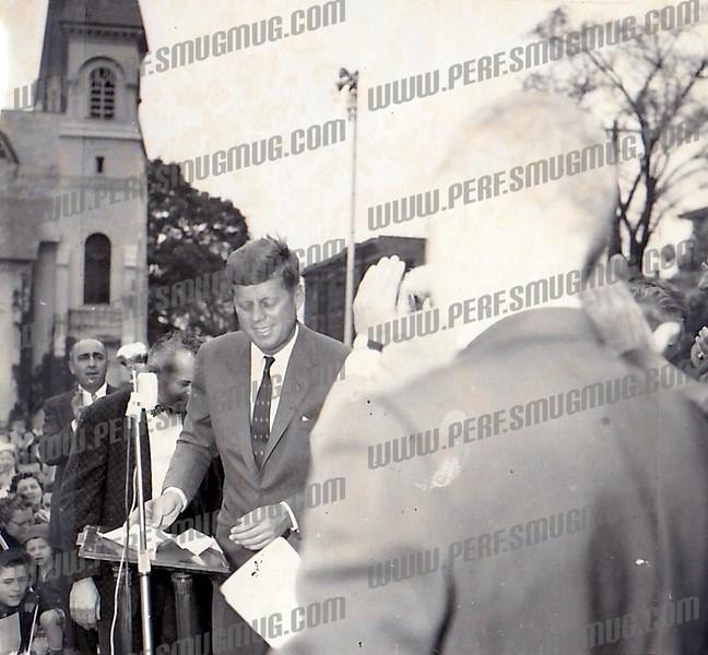 "Senator John F. Kennedy campaignng for president, September 29, 1960. Speech is here:          <a href=""http://www.davidpietrusza.com/Amsterdam-JFK.html"">http://www.davidpietrusza.com/Amsterdam-JFK.html</a>"