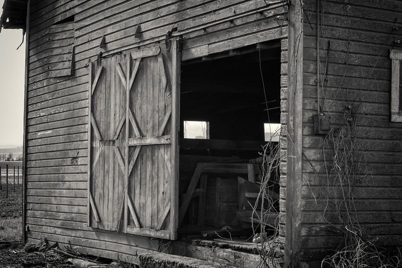 Barn door and windows  B&W
