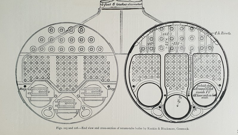 End view and cross section of marine return tube boiler by Rankin & Blackmore, Greenock