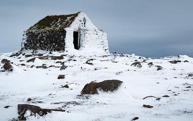 Snowy Hut with Blue Sky