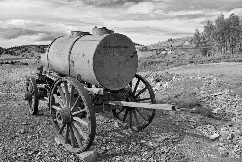 Old water wagon from gold mining days in Colorado