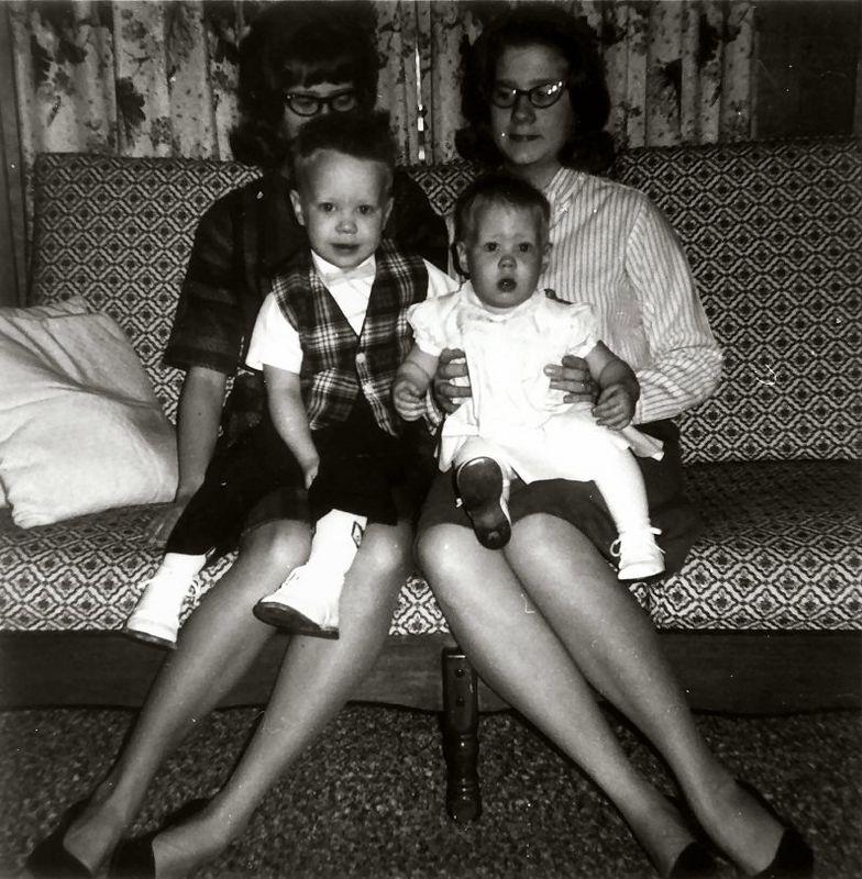 Janice & Judy holding Scott & Susan, 1965