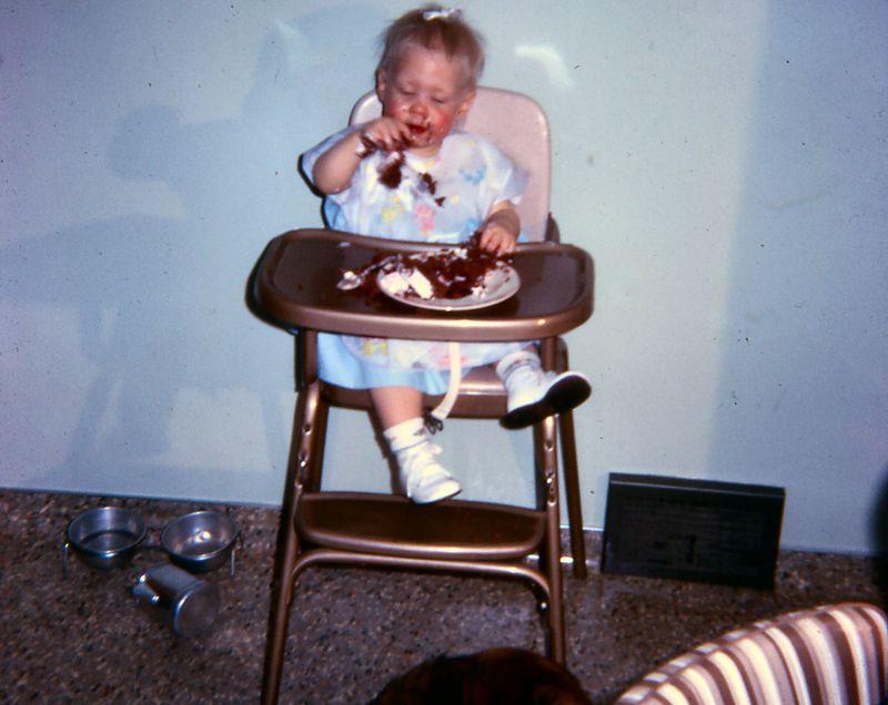 Susie's first birthday, Jan, 1966