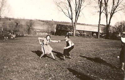 There are three of these photos in a series.  They were in pretty bad shape but I thought they were interesting with the horseplay.