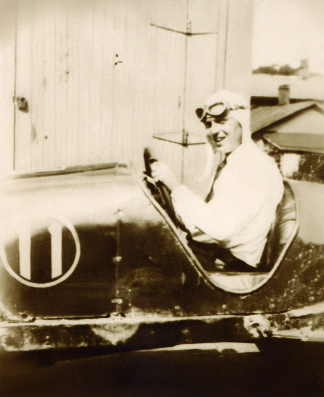 Grandfather Fleming in his race car.  Later killed while racing.