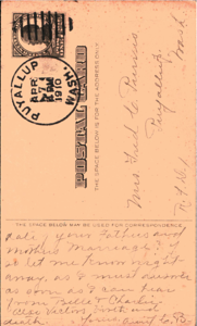 Postcard from Aunt Carrie Brisben (Mary Brisben Johns' sister) to Helen Johns Purvis 7 Apr 1910