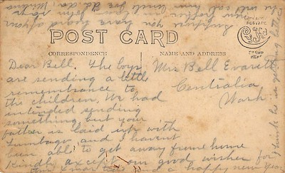 Post Card Back (Emanuel and Minerva Johns)