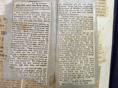 Article by Mary Brisben Johns in the Emanuel Johns family bible 9 Jan 1863